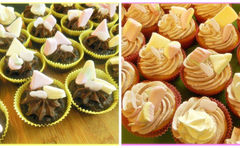 Čokoladni in kokosovi cupcakei